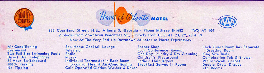 Flyer for the Heart of Atlanta Motel, circa 1960 - Atlanta Time Machine image